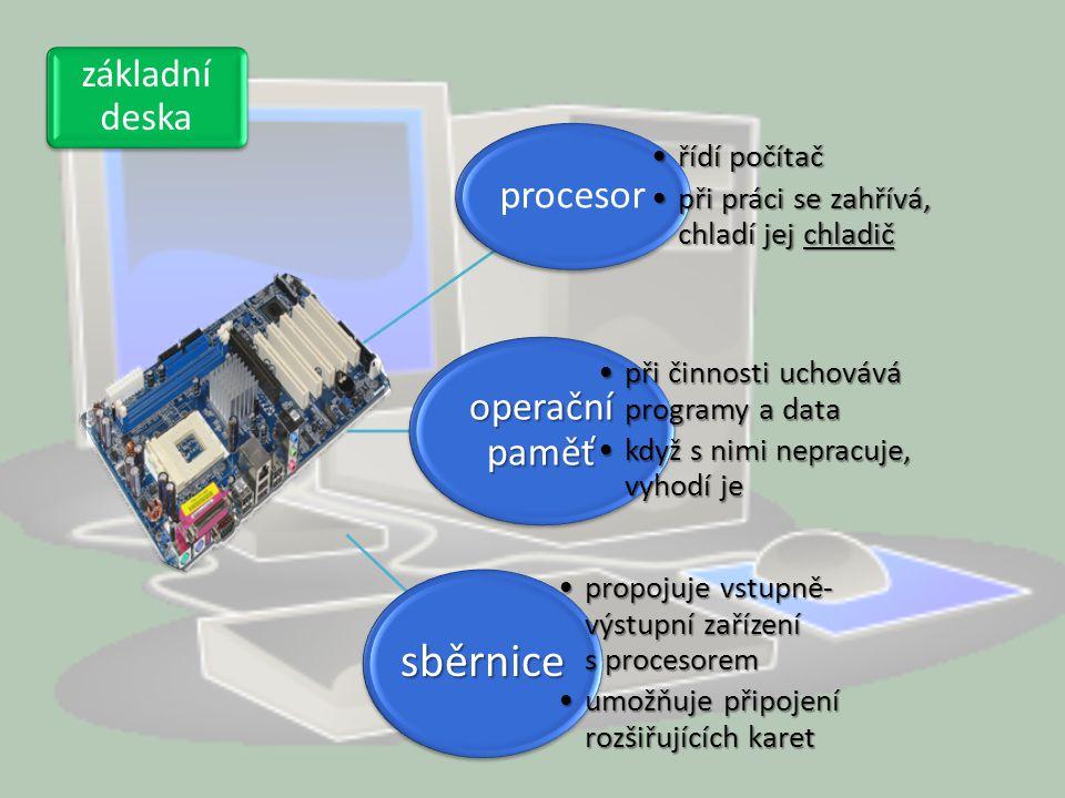 procesor řídí počítačřídí počítač při práci se zahřívá, chladí jej chladičpři práci se zahřívá, chladí jej chladič operační paměť při činnosti uchováv