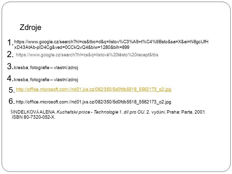 https://www.google.cz/search?hl=cs&q=listové%20těsto%20recept&tbs 1. 2. 3. kresba, fotografie – vlastní zdroj 4. kresba, fotografie – vlastní zdroj 5.