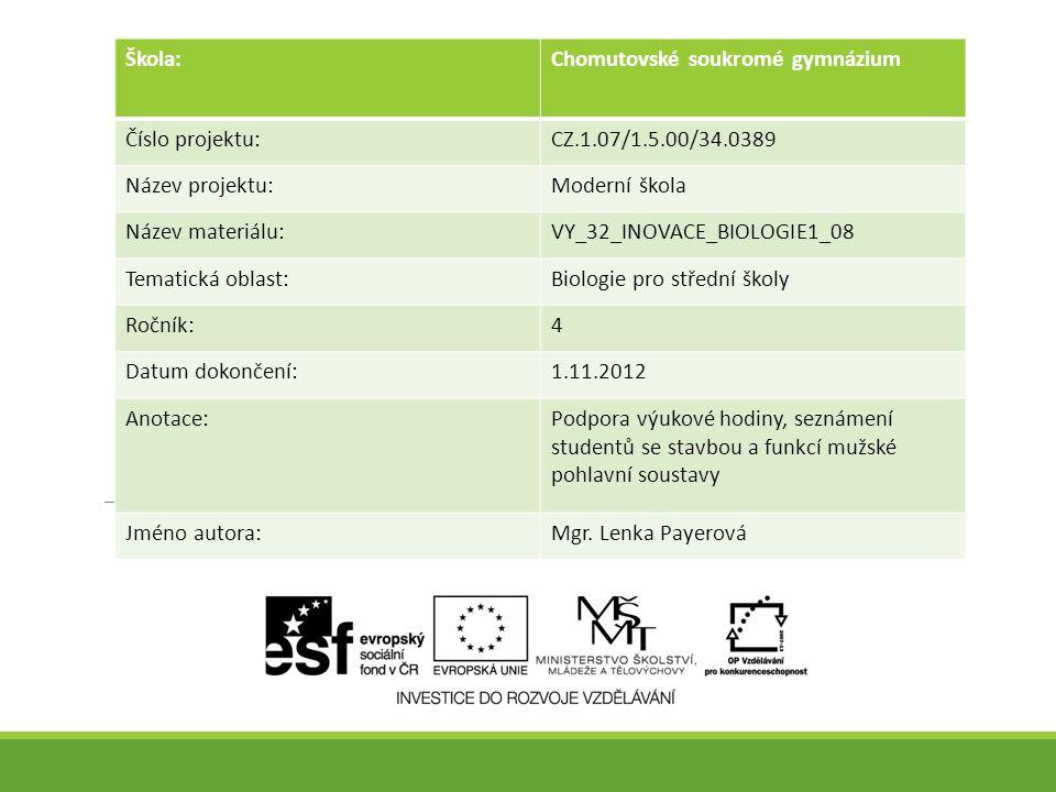 Škola:Chomutovské soukromé gymnázium Číslo projektu:CZ.1.07/1.5.00/34.0389 Název projektu:Moderní škola Název materiálu:VY_32_INOVACE_BIOLOGIE1_08 Tem