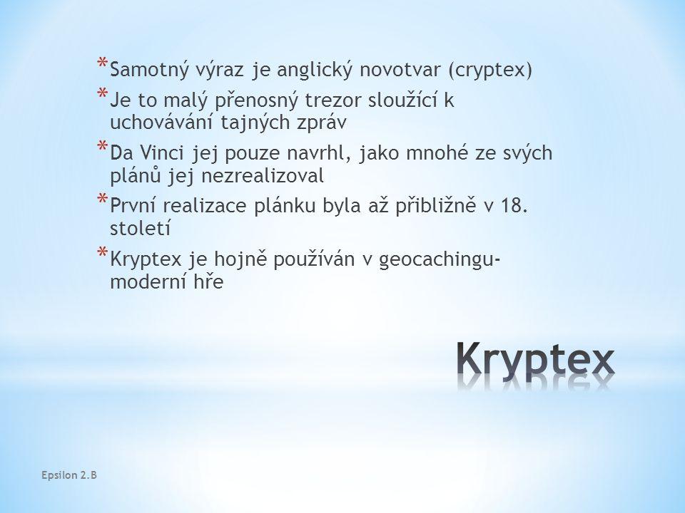 Epsilon 2.B * Samotný výraz je anglický novotvar (cryptex) * Je to malý přenosný trezor sloužící k uchovávání tajných zpráv * Da Vinci jej pouze navrhl, jako mnohé ze svých plánů jej nezrealizoval * První realizace plánku byla až přibližně v 18.