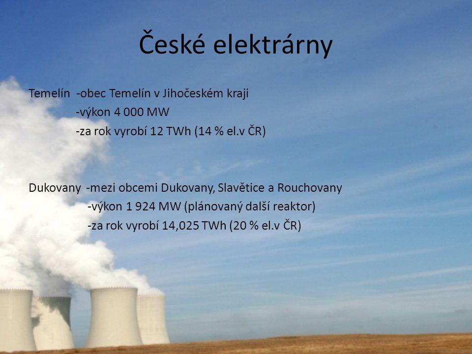 České elektrárny Temelín -obec Temelín v Jihočeském kraji -výkon 4 000 MW -za rok vyrobí 12 TWh (14 % el.v ČR) Dukovany -mezi obcemi Dukovany, Slavěti
