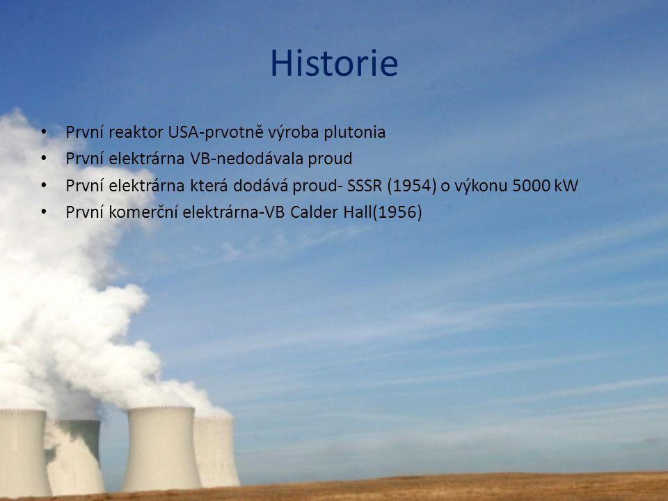 Historie První reaktor USA-prvotně výroba plutonia První elektrárna VB-nedodávala proud První elektrárna která dodává proud- SSSR (1954) o výkonu 5000