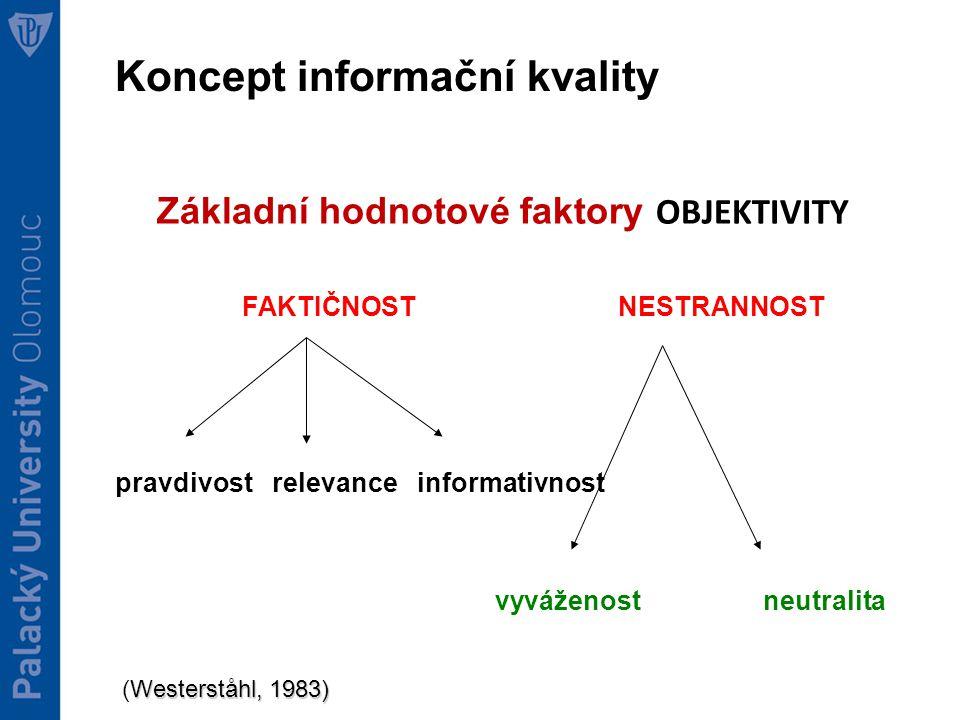 Koncept informační kvality Základní hodnotové faktory OBJEKTIVITY FAKTIČNOST NESTRANNOST pravdivost relevance informativnost vyváženost neutralita Westerståhl, 1983) (Westerståhl, 1983)