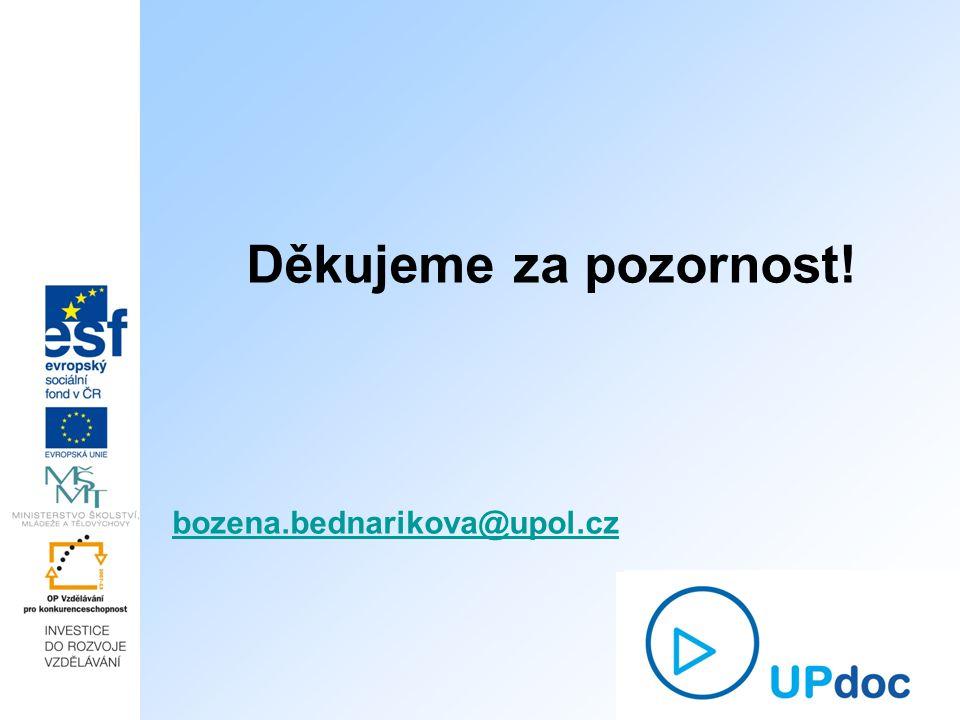 Děkujeme za pozornost! bozena.bednarikova@upol.cz