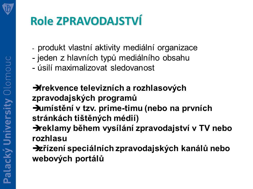 Role ZPRAVODAJSTVÍ - produkt vlastní aktivity mediální organizace - jeden z hlavních typů mediálního obsahu - úsilí maximalizovat sledovanost  frekvence televizních a rozhlasových zpravodajských programů  umístění v tzv.