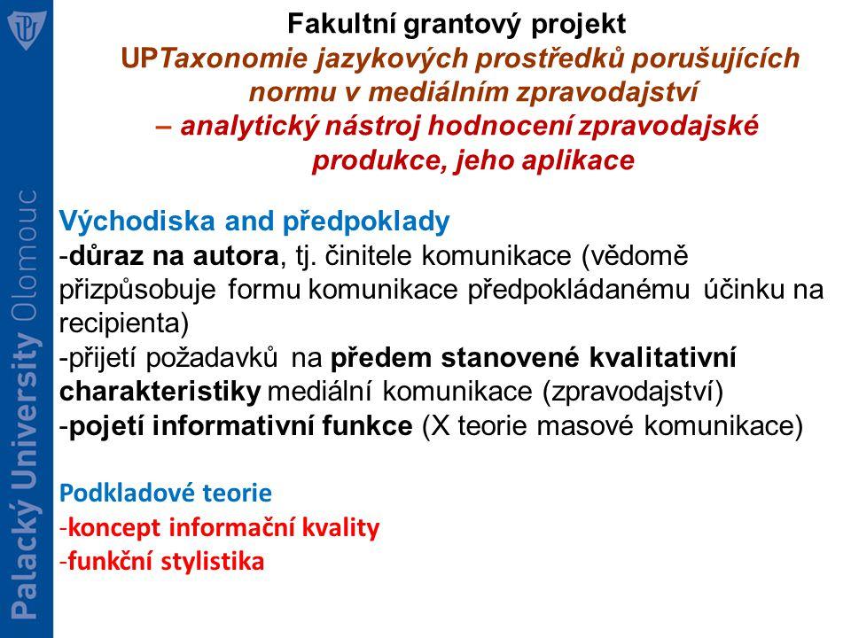 Fakultní grantový projekt UPTaxonomie jazykových prostředků porušujících normu v mediálním zpravodajství – analytický nástroj hodnocení zpravodajské produkce, jeho aplikace Východiska and předpoklady -důraz na autora, tj.
