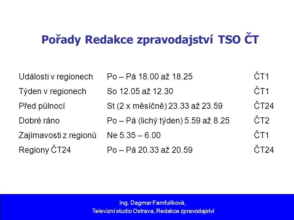 Pořady Redakce zpravodajství TSO ČT Ing. Dagmar Famfulíková, Televizní studio Ostrava, Redakce zpravodajství Události v regionech Po – Pá 18.00 až 18.