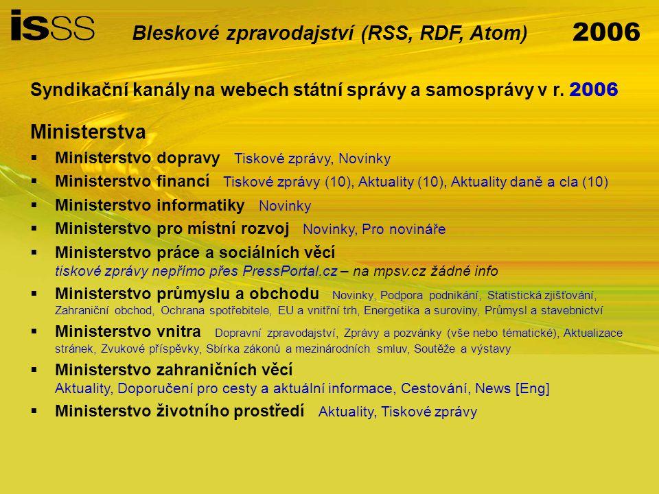 2006 Bleskové zpravodajství (RSS, RDF, Atom) Syndikační kanály na webech státní správy a samosprávy v r.
