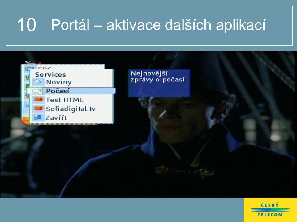 10 Portál – aktivace dalších aplikací
