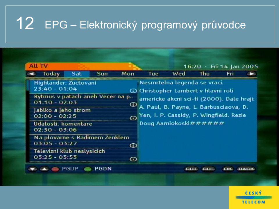 12 EPG – Elektronický programový průvodce