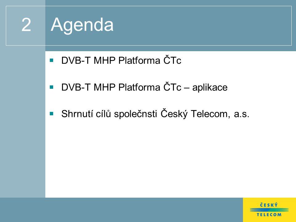 2 Agenda DVB-T MHP Platforma ČTc DVB-T MHP Platforma ČTc – aplikace Shrnutí cílů společnsti Český Telecom, a.s.