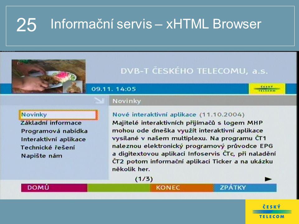 25 Informační servis – xHTML Browser