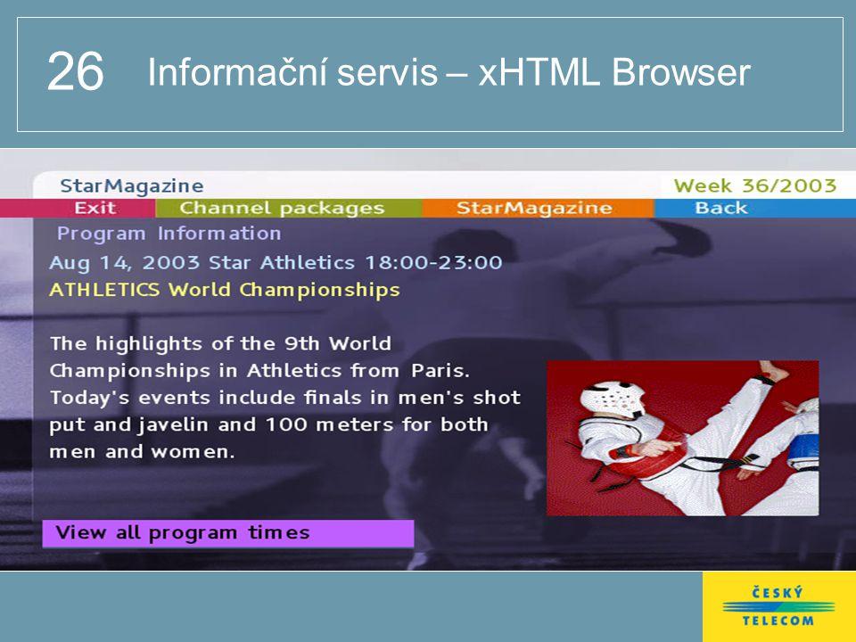 26 Informační servis – xHTML Browser