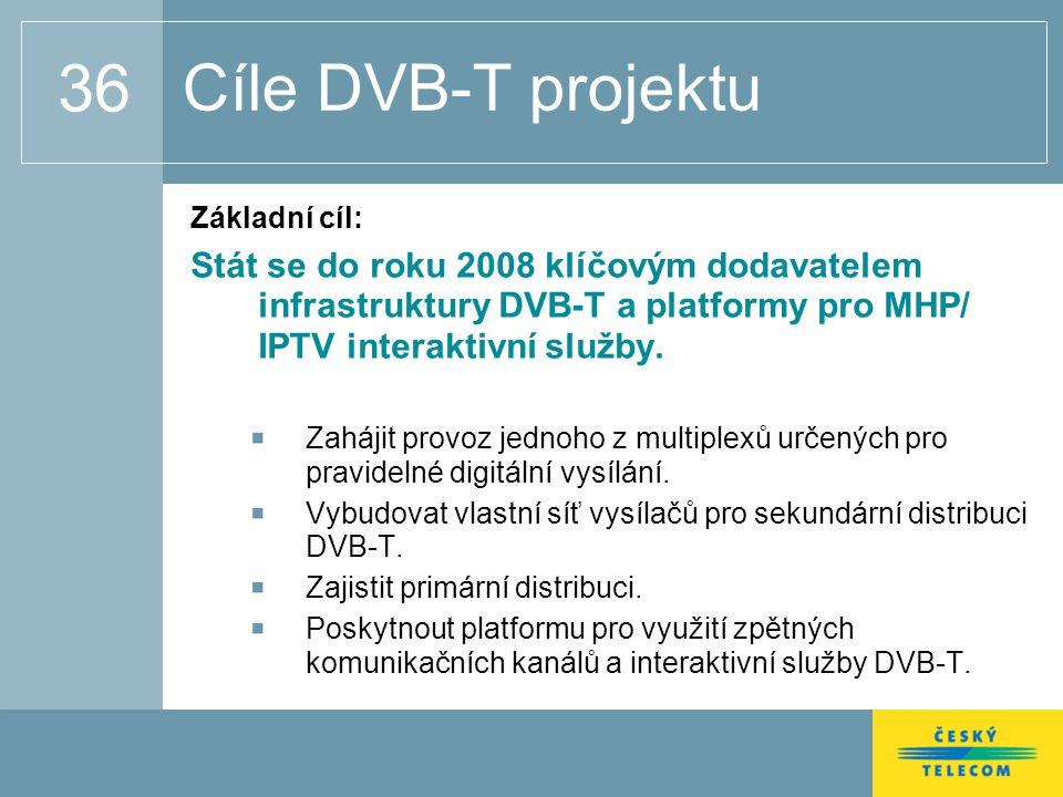 36 Cíle DVB-T projektu Základní cíl: Stát se do roku 2008 klíčovým dodavatelem infrastruktury DVB-T a platformy pro MHP/ IPTV interaktivní služby.