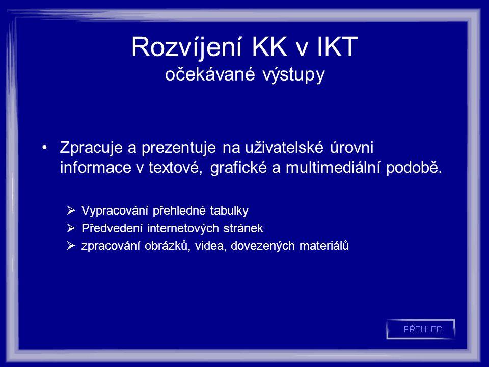 Rozvíjení KK v IKT očekávané výstupy Zpracuje a prezentuje na uživatelské úrovni informace v textové, grafické a multimediální podobě.