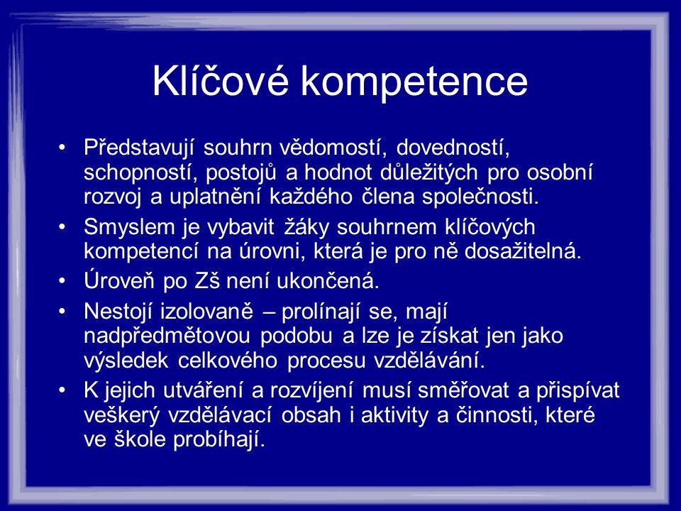 Klíčové kompetence Představují souhrn vědomostí, dovedností, schopností, postojů a hodnot důležitých pro osobní rozvoj a uplatnění každého člena společnosti.