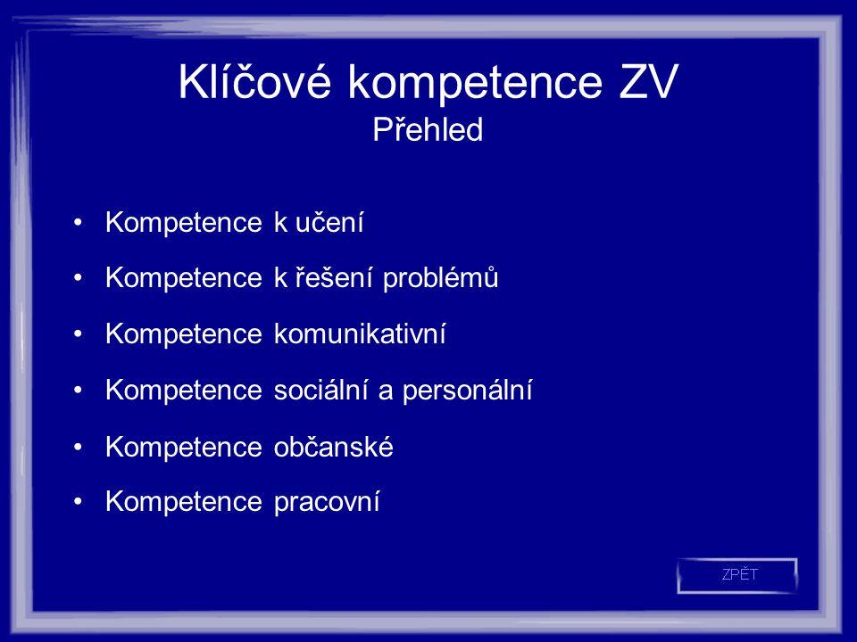 Klíčové kompetence ZV Přehled Kompetence k učení Kompetence k řešení problémů Kompetence komunikativní Kompetence sociální a personální Kompetence občanské Kompetence pracovní