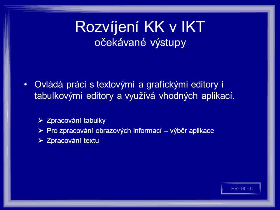 Rozvíjení KK v IKT očekávané výstupy Ovládá práci s textovými a grafickými editory i tabulkovými editory a využívá vhodných aplikací.