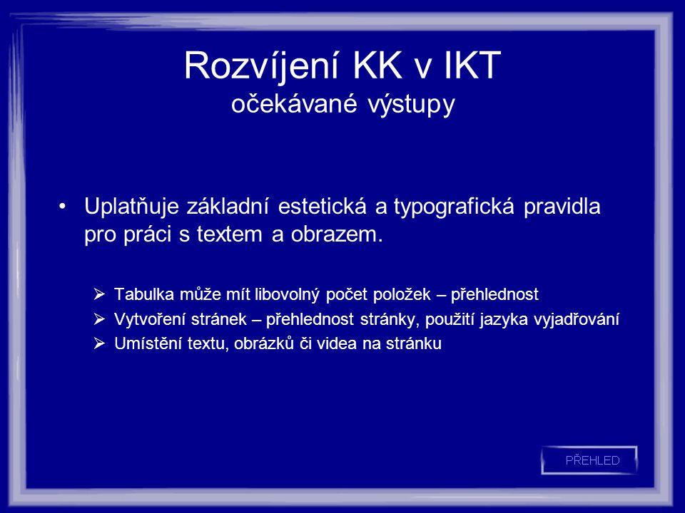 Rozvíjení KK v IKT očekávané výstupy Uplatňuje základní estetická a typografická pravidla pro práci s textem a obrazem.