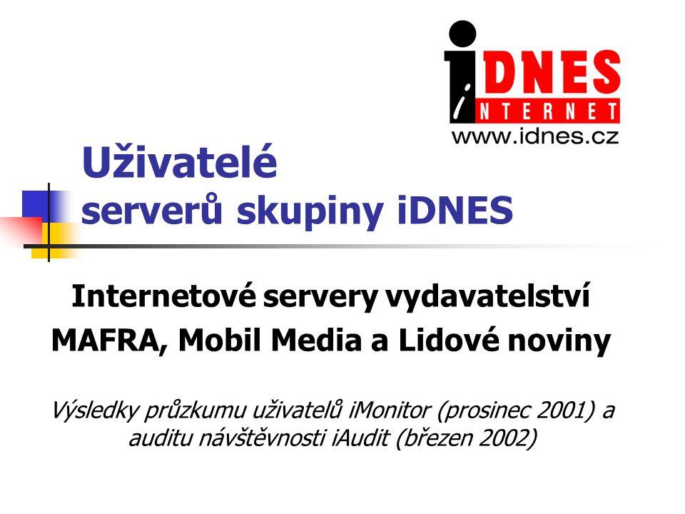 Uživatelé serverů skupiny iDNES Internetové servery vydavatelství MAFRA, Mobil Media a Lidové noviny Výsledky průzkumu uživatelů iMonitor (prosinec 2001) a auditu návštěvnosti iAudit (březen 2002)