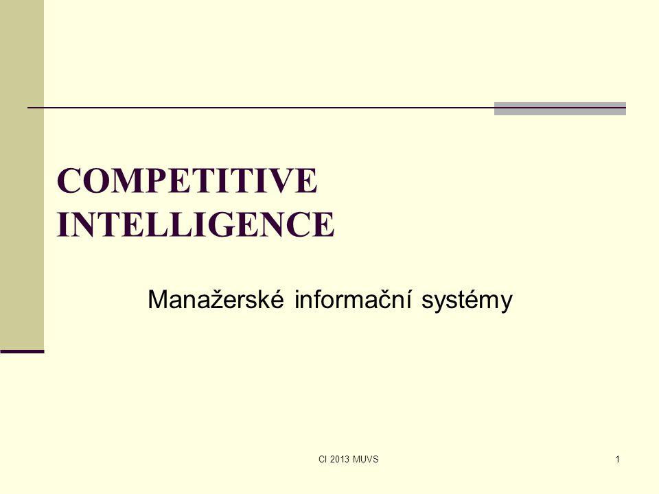 CI 2013 MUVS COMPETITIVE INTELLIGENCE Manažerské informační systémy 1