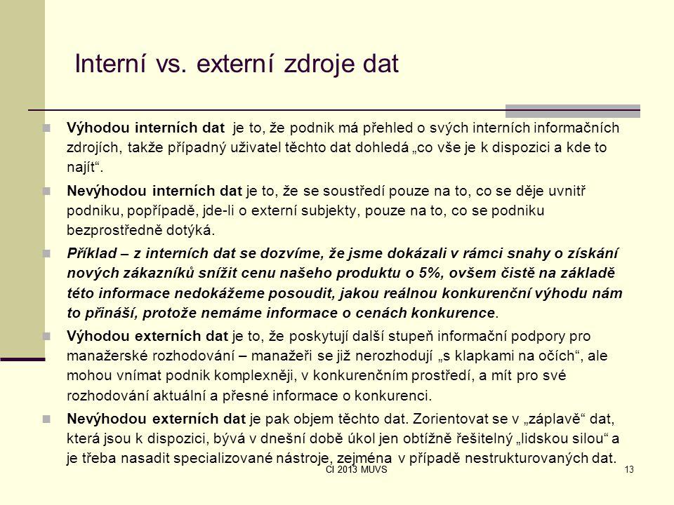 CI 2013 MUVS Interní vs. externí zdroje dat Výhodou interních dat je to, že podnik má přehled o svých interních informačních zdrojích, takže případný