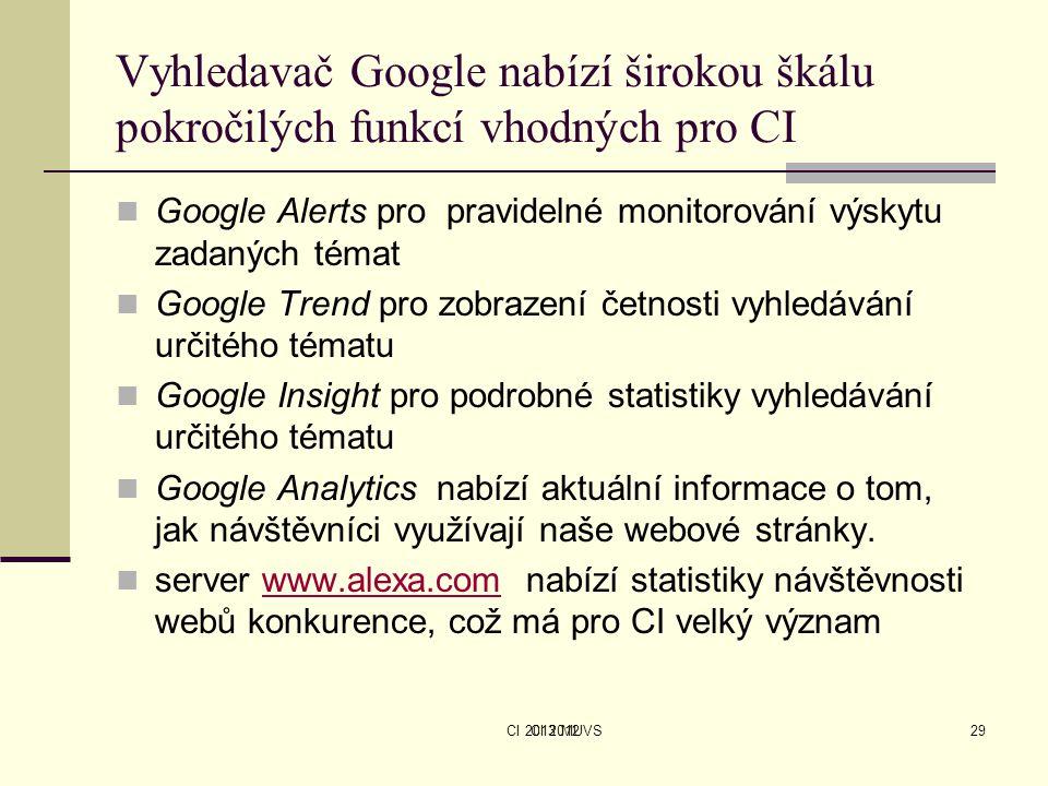CI 2013 MUVS Vyhledavač Google nabízí širokou škálu pokročilých funkcí vhodných pro CI Google Alerts pro pravidelné monitorování výskytu zadaných téma