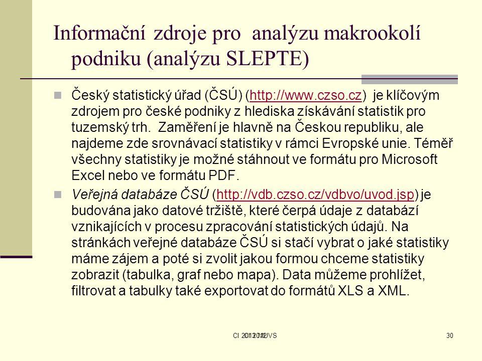 CI 2013 MUVS Informační zdroje pro analýzu makrookolí podniku (analýzu SLEPTE) Český statistický úřad (ČSÚ) (http://www.czso.cz) je klíčovým zdrojem p