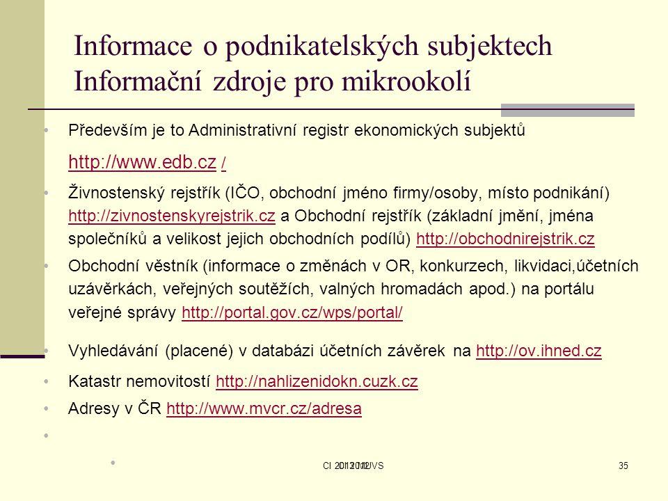 CI 2013 MUVSCI 201235 Informace o podnikatelských subjektech Informační zdroje pro mikrookolí Především je to Administrativní registr ekonomických sub
