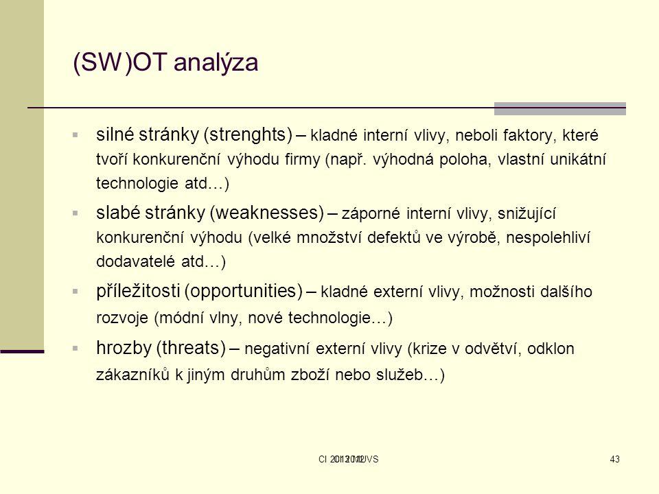 CI 2013 MUVS (SW)OT analýza  silné stránky (strenghts) – kladné interní vlivy, neboli faktory, které tvoří konkurenční výhodu firmy (např. výhodná po