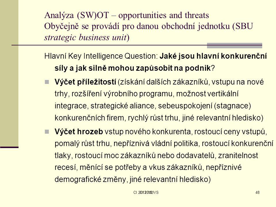 CI 2013 MUVSCI 201248 Analýza (SW)OT – opportunities and threats Obyčejně se provádí pro danou obchodní jednotku (SBU strategic business unit) Hlavní