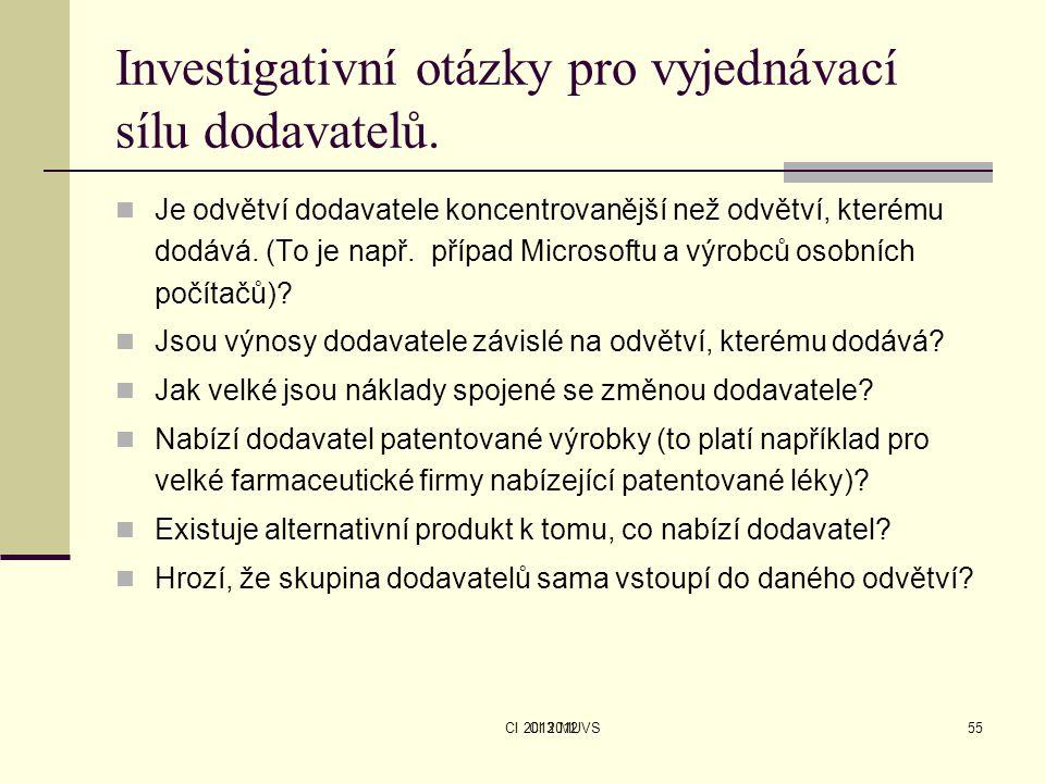 CI 2013 MUVS Investigativní otázky pro vyjednávací sílu dodavatelů. Je odvětví dodavatele koncentrovanější než odvětví, kterému dodává. (To je např. p