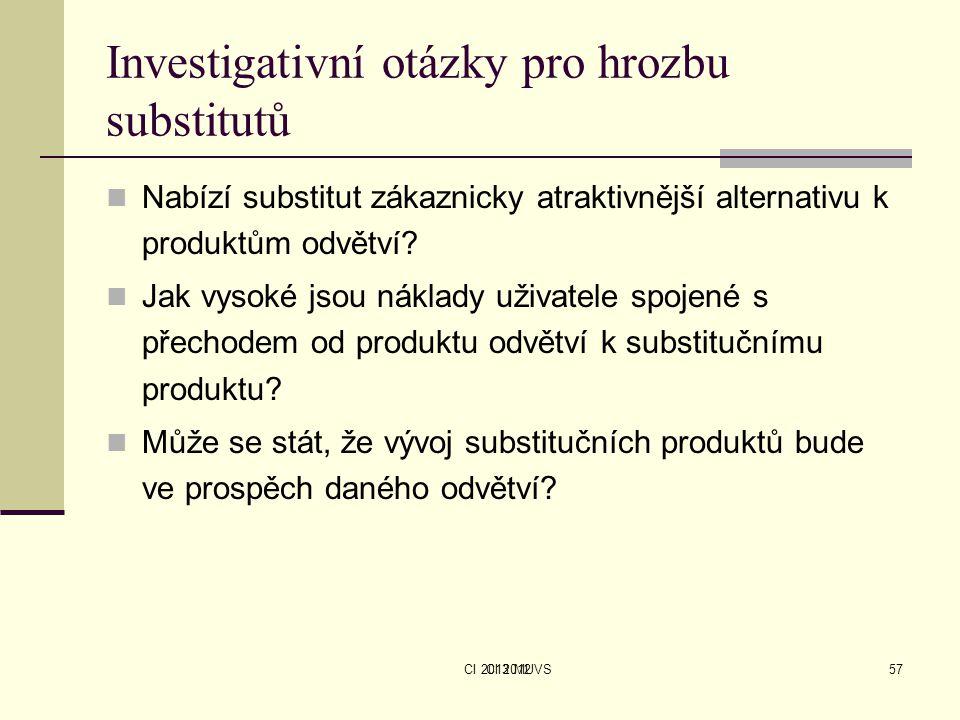 CI 2013 MUVS Investigativní otázky pro hrozbu substitutů Nabízí substitut zákaznicky atraktivnější alternativu k produktům odvětví? Jak vysoké jsou ná