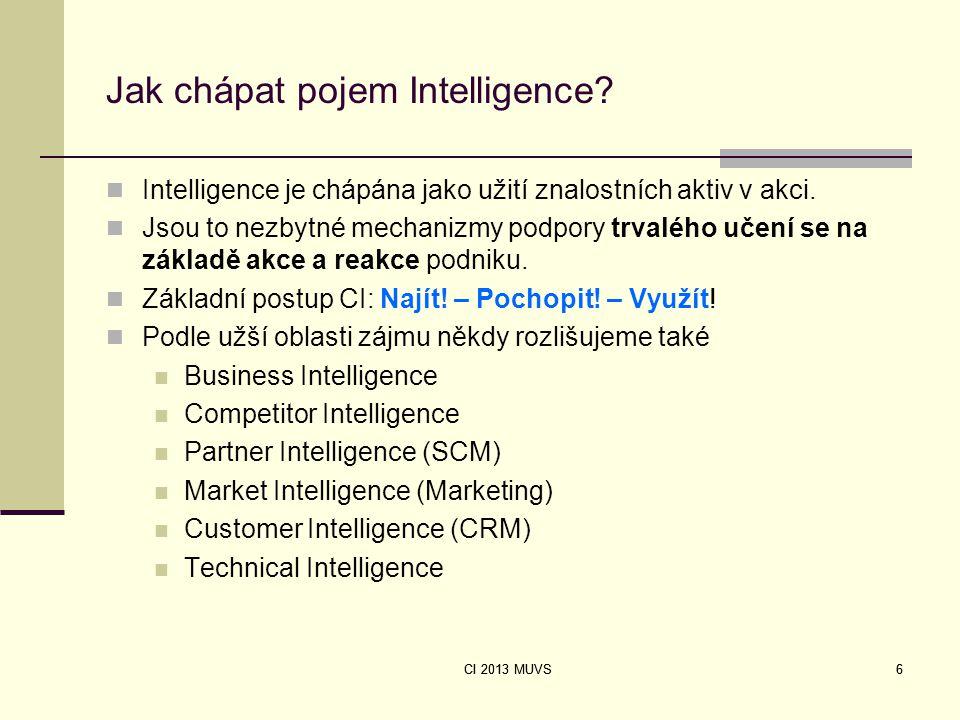 6 Jak chápat pojem Intelligence? Intelligence je chápána jako užití znalostních aktiv v akci. Jsou to nezbytné mechanizmy podpory trvalého učení se na