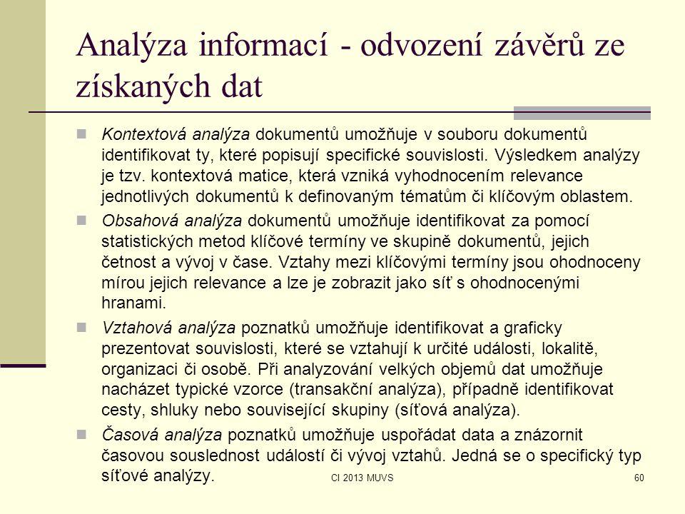 CI 2013 MUVS Analýza informací - odvození závěrů ze získaných dat Kontextová analýza dokumentů umožňuje v souboru dokumentů identifikovat ty, které po