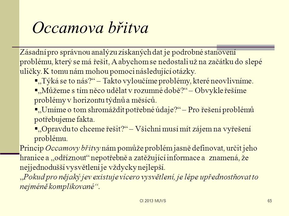 CI 2013 MUVS Occamova břitva 65 Zásadní pro správnou analýzu získaných dat je podrobné stanovení problému, který se má řešit, A abychom se nedostali u