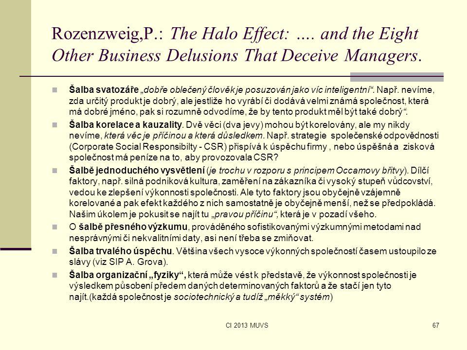 """CI 2013 MUVS Rozenzweig,P.: The Halo Effect: …. and the Eight Other Business Delusions That Deceive Managers. Šalba svatozáře """"dobře oblečený člověk j"""