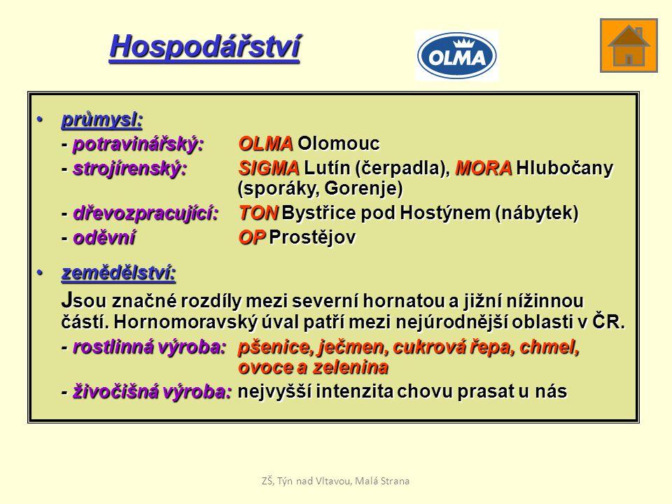 Hospodářství průmysl:průmysl: - potravinářský: OLMA Olomouc - strojírenský: SIGMA Lutín (čerpadla), MORA Hlubočany (sporáky, Gorenje) - dřevozpracující:TON Bystřice pod Hostýnem (nábytek) - oděvníOP Prostějov zemědělství:zemědělství: J sou značné rozdíly mezi severní hornatou a jižní nížinnou částí.
