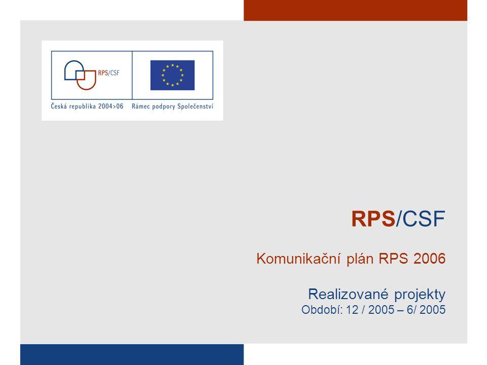 RPS/CSF Komunikační plán RPS 2006 Realizované projekty Období: 12 / 2005 – 6/ 2005