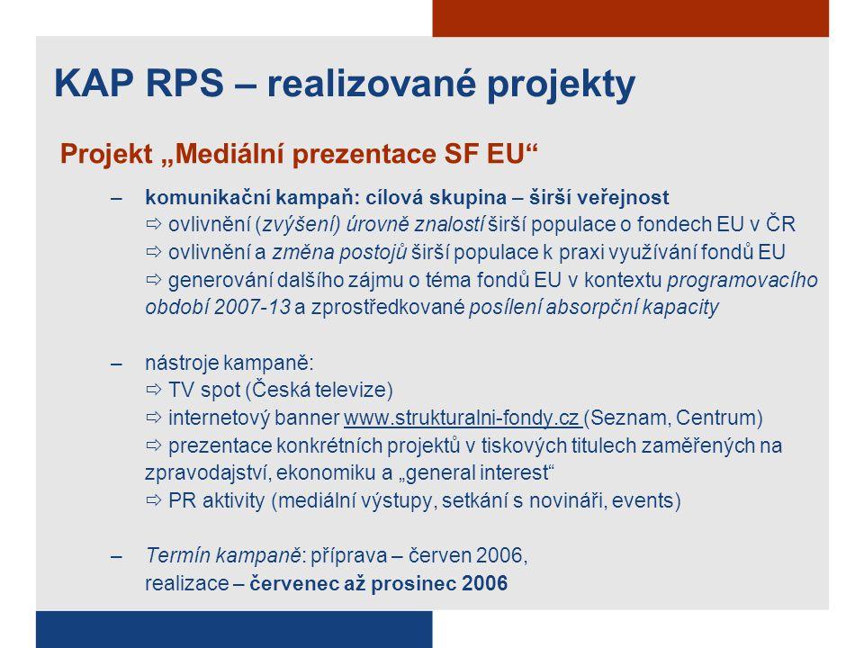 """Projekt """"Mediální prezentace SF EU"""" –komunikační kampaň: cílová skupina – širší veřejnost  ovlivnění (zvýšení) úrovně znalostí širší populace o fonde"""