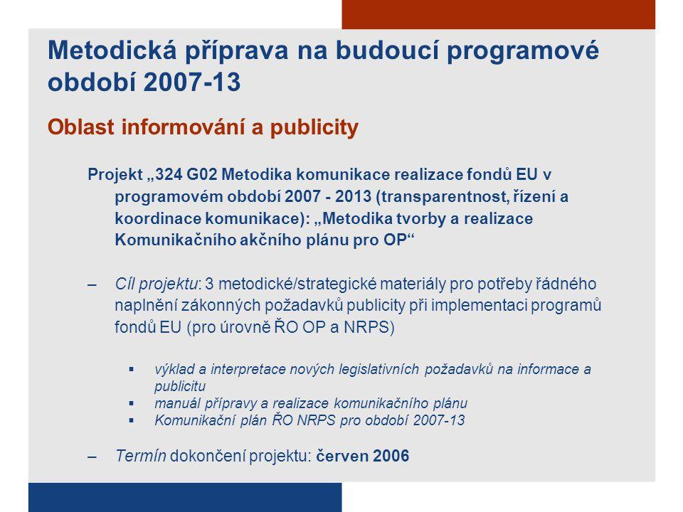 """Oblast informování a publicity Projekt """"324 G02 Metodika komunikace realizace fondů EU v programovém období 2007 - 2013 (transparentnost, řízení a koordinace komunikace): """"Metodika tvorby a realizace Komunikačního akčního plánu pro OP –Cíl projektu: 3 metodické/strategické materiály pro potřeby řádného naplnění zákonných požadavků publicity při implementaci programů fondů EU (pro úrovně ŘO OP a NRPS)  výklad a interpretace nových legislativních požadavků na informace a publicitu  manuál přípravy a realizace komunikačního plánu  Komunikační plán ŘO NRPS pro období 2007-13 –Termín dokončení projektu: červen 2006 Metodická příprava na budoucí programové období 2007-13"""
