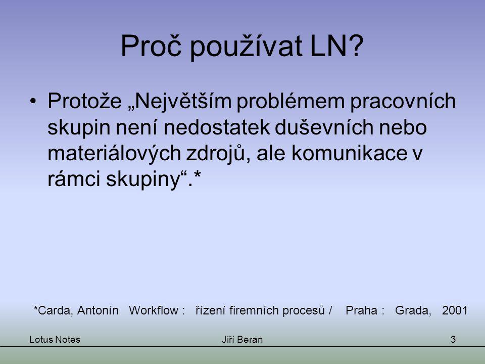 Lotus NotesJiří Beran3 Proč používat LN.