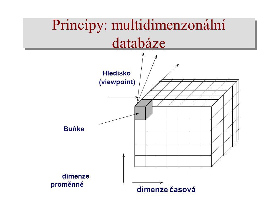 Principy: multidimenzonální databáze Hledisko (viewpoint) dimenze časová dimenze proměnné Buňka