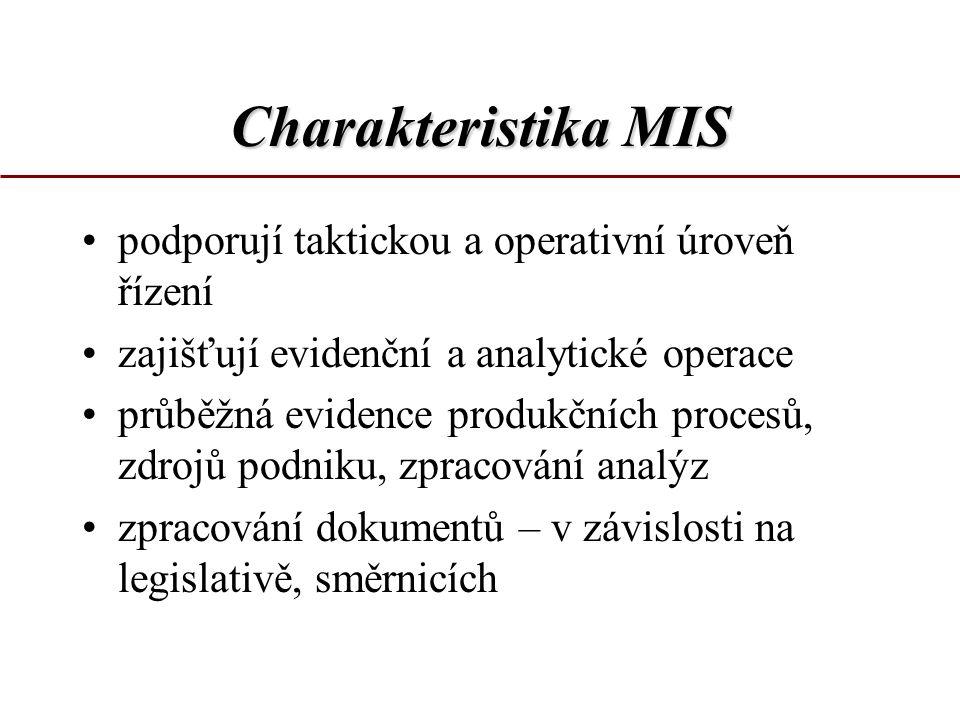 Charakteristika MIS podporují taktickou a operativní úroveň řízení zajišťují evidenční a analytické operace průběžná evidence produkčních procesů, zdr