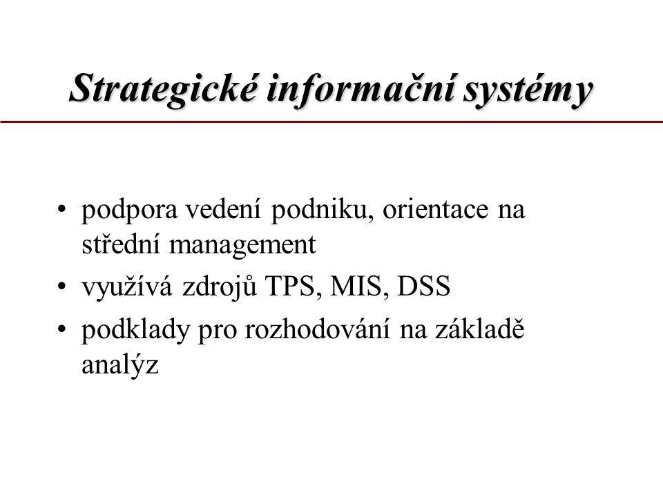 Strategické informační systémy podpora vedení podniku, orientace na střední management využívá zdrojů TPS, MIS, DSS podklady pro rozhodování na základ