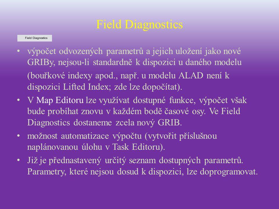 Field Diagnostics výpočet odvozených parametrů a jejich uložení jako nové GRIBy, nejsou-li standardně k dispozici u daného modelu (bouřkové indexy apo