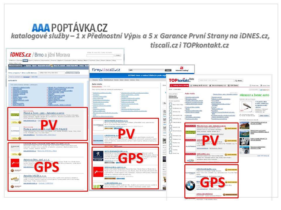 katalogové služby – 1 x Přednostní Výp is a 5 x Garance První Strany na iDNES.cz, tiscali.cz i TOPkontakt.cz GPS PV GPS GPS PV PV