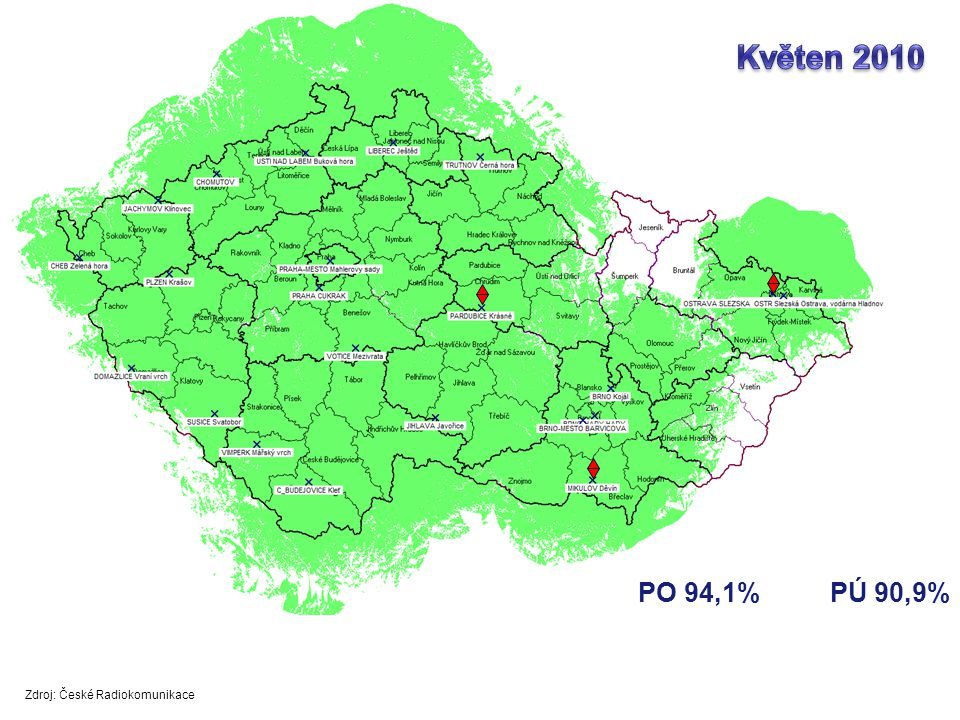 PO 94,1%PÚ 90,9% Zdroj: České Radiokomunikace