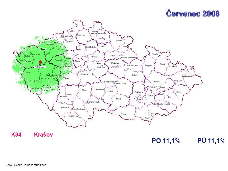 PO 11,1%PÚ 11,1% K34Krašov Zdroj: České Radiokomunikace