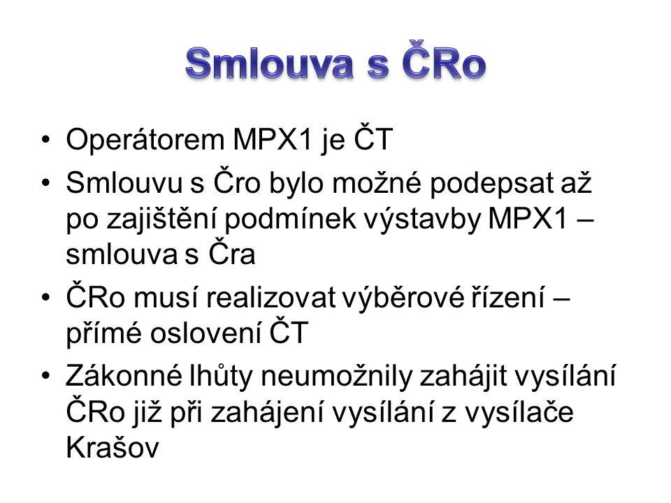 Operátorem MPX1 je ČT Smlouvu s Čro bylo možné podepsat až po zajištění podmínek výstavby MPX1 – smlouva s Čra ČRo musí realizovat výběrové řízení – přímé oslovení ČT Zákonné lhůty neumožnily zahájit vysílání ČRo již při zahájení vysílání z vysílače Krašov